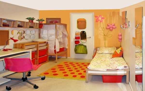 Alluring Beautiful Childrens Rooms Ideas Displaying Orange Wall Paint Beautiful Small Childrens