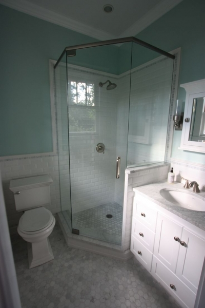 Awesome Small Master Bath Reno Is Complete Hexagon Marble Floor Tile Small Bathroom Renovation With Subway Tile In Shower