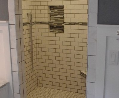 Small Bathroom Renovation With Subway Tile In Shower