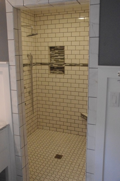 Awesome White Subway Tile Shower With Glass Inserts After Bathroom Small Bathroom Renovation With Subway Tile In Shower