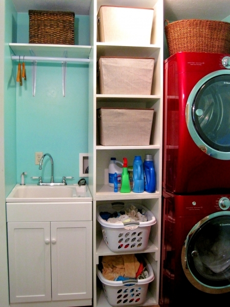 Beautiful Simply Small Space Laundry Room Design Ideas With Storage Shelves Small Laundry Room With Red Washer And Dryer Pics 166