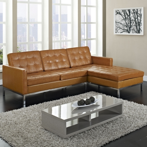 Fascinating Furniture Maximizing Small Living Room Spaces With 3 Piece Brown Leather Tufted Sectional Sofa With Stainless Steel Legs And Glass Top Low Coffee Table With Small Storage Sectional