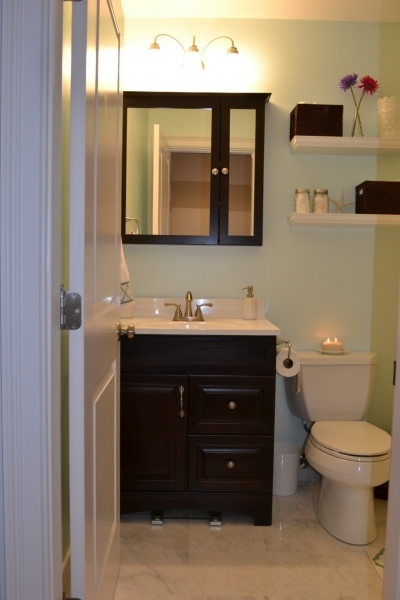 Gorgeous White Quartz Topped Vanity With Dark Varnished Teak Drawers And Small Bathroom Vanities With Drawers