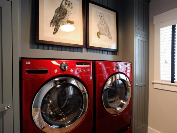 Marvelous Laundry Room Wall Decor Pictures Options Tips Amp Ideas Home Small Laundry Room With Red Washer And Dryer Pic 577