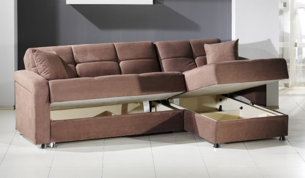 Picture of Furniture Light Brown Microfiber Sectional Sleeper Sofa With Storage And Stainless Steel Legs For Small Living Room Spaces With White Ceramic Floor Tiles Small Storage Sectional