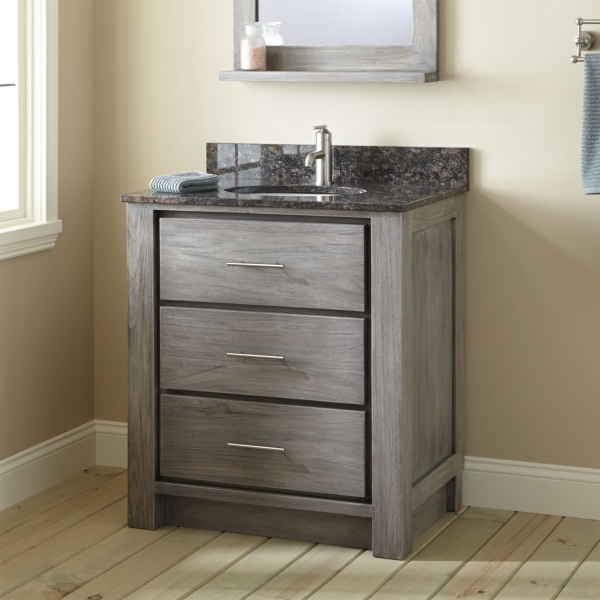 Remarkable Interior Ideas Appealing Distressed Gray Vanity With Three Drawer Small Bathroom Vanities With Drawers