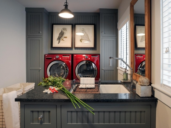 Stylish Cure The Laundry Room Blues Decorating And Design Ideas For Small Laundry Room With Red Washer And Dryer Picture 422