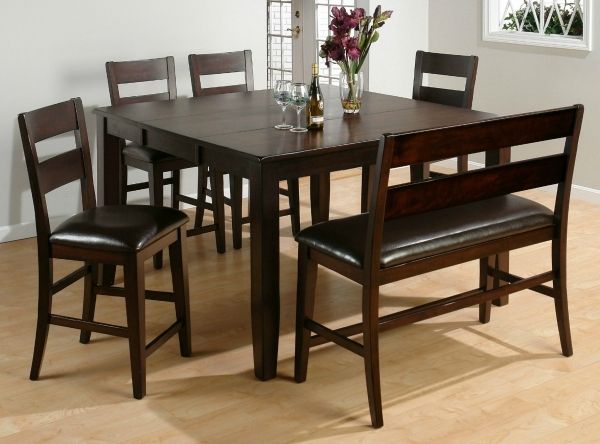 Alluring Minimalist Rustic Small Dining Room Sets With Brown High Gloss Small Bench Table