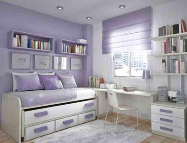 Delightful Charming Small White Purple Bedroom Designs For Teenage Girls Home Small Teen Girls Room Ideas