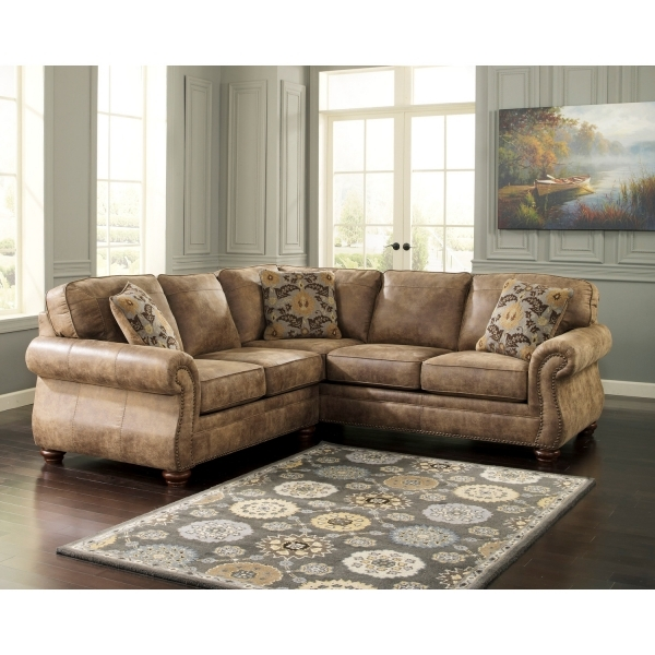 Fantastic Furniture Brown Leather Sectional Sofa With Nails Accent Plus Small Sofas For Small Spaces
