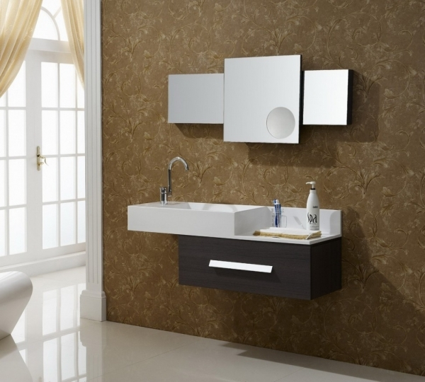 Fantastic Small Bathroom Vanities Designs Features Mirror With White Stained Vanities For Small Bathrooms