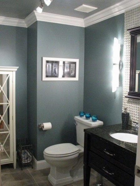 Fascinating Bathroom Grey Wall Color With White Crown Molding And Black Bathroom Colors For Small Bathroom