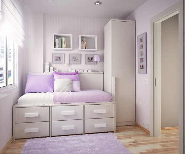 Fascinating Fascinating Bedroom Accesories Decors Interesting Purple And White Decorate A Teen Girls Bedroom With Single Size Bed And Small Room