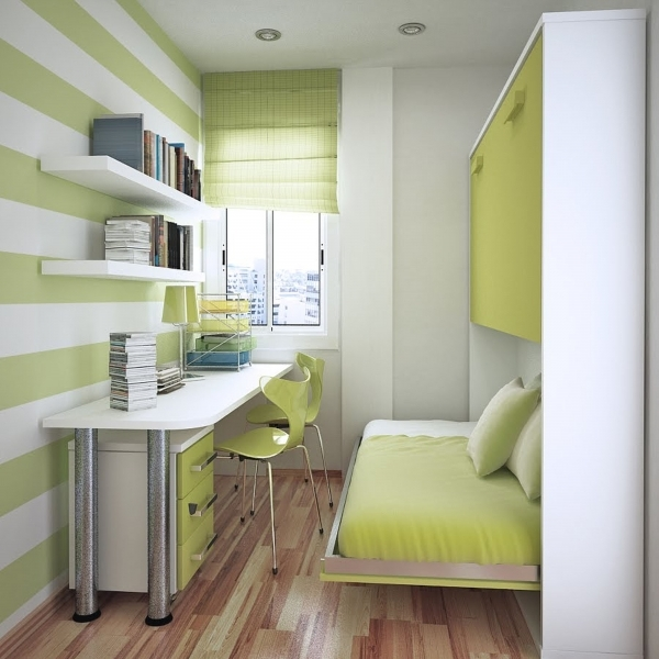 Image of Awesome White Green Wood Glass Unique Design Ideas For Small Bed Design Ideas For Small Room