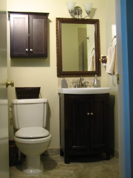 Image of Black Painted Wooden Vanity Decor With Varnished Framed Wall Very Small Bathroom Vanity