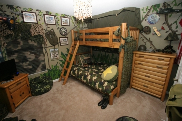 Image of Excellent Kids Room Design With Army Themes And Bunk Beds Plus Bunk Bed Decor Ideas For Coed Small Room