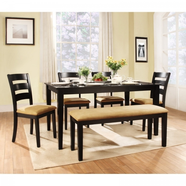 Stunning Stupendous Minimalist Dining Room Decor Black High Gloss Wooden Small Bench Table