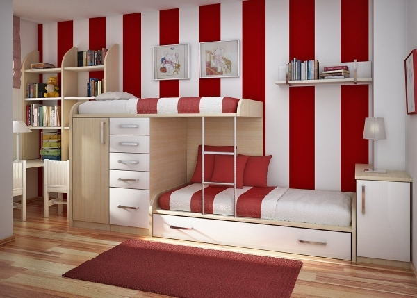 Wonderful Small Modern Kids Bedrooms Decorating Ideas Features Wooden Bunk Modern Children Bedroom Small