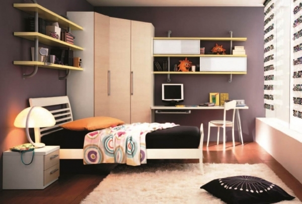 Alluring Teenage Bedroom Design For Small Space With Cream Plywood Corner Corner Wardrobes For Small Rooms