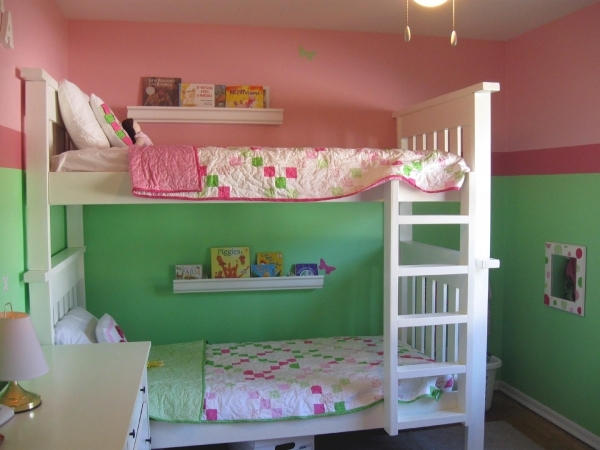 Awesome Attractive Design Ideas Of Shared Kids Room With White Wooden Bunk Small Girls Bunk Beds Decorating Ideas