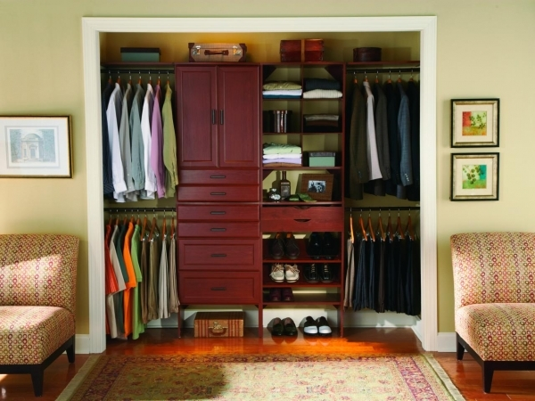 Beautiful Fashionable Brown Varnished Cherry Wood Men Closet Ideas With Wardrobe Small Apartment