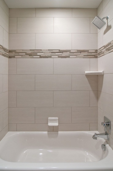 Delightful We Love Oversized Subway Tiles In This Bathroom The Addition Of Small Bathroom Designs With Subway Tiles