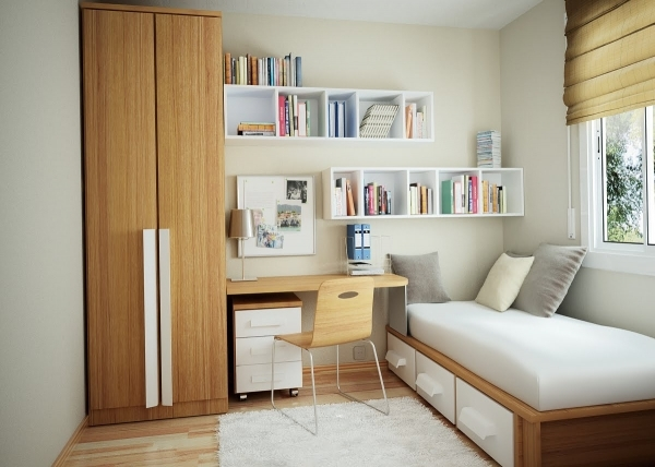 Image of Interesting Wooden Wardrobe And Desk Near Single Bed For Small Small Bedroom Design With Wardrobe