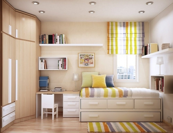Image of Small Kid Bedroom Interior With Corner Maple Wood Closet Wardrobe Corner Wardrobes For Small Rooms