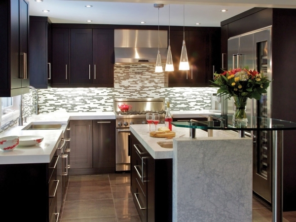 Incredible Cool Modern Small Kitchen Design Using Wooden Kitchen Table Small Modern Kitchen