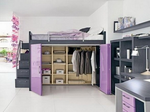 Inspiring Compact Wooden Bunk Bed For Two With Purple Wardrobe And Orange Wardrobes For Small Rooms