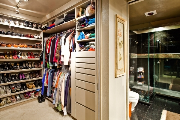 Picture of Black Wooden Floating Shelving For Folded Clothes Bedroom Closets For Small Spaces Ideas