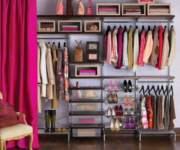 Stylish Black Stained Wooden Sube Racks In Small Walk In Closet With Closets For Small Spaces Ideas
