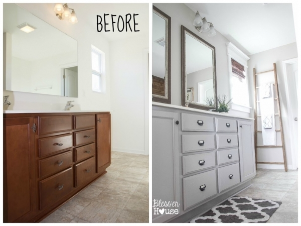 Wonderful Master Bathroom Budget Makeover Builder Grade To Rustic Small Master Bathroom Makeovers