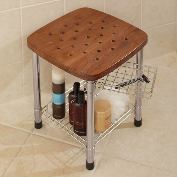 Awesome Furniture Bathroom Decorating Ideas With Corner Mini Teak Bench Small Bench For Bathroom