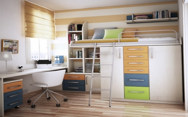 Awesome Simple Design Bedroom With Loft Beds And Space Saving Beds Plus Wardrobe Small Space