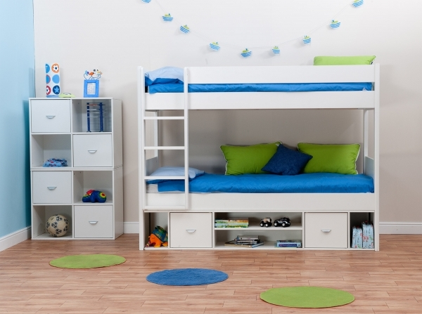 Beautiful Bathroom Kids Room White Bunk Bed With Three Level For Extra Small Room Loft Bed
