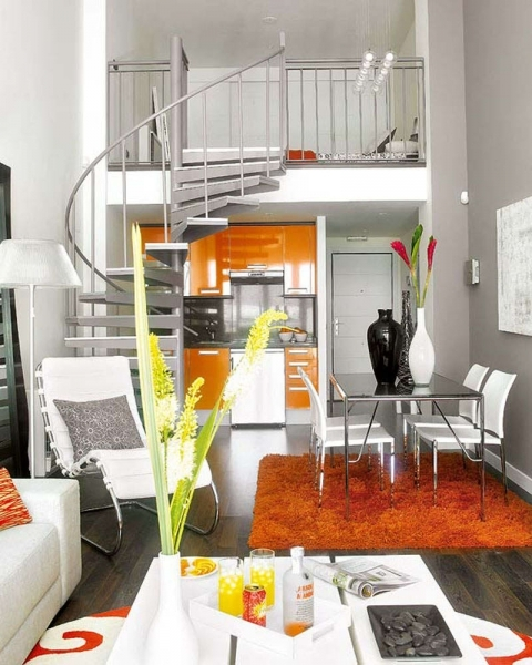 Best Modern Small Space Interior Decor Living Room With Small Orange Interior Design For Living Room And Kitchen For Small Spaces