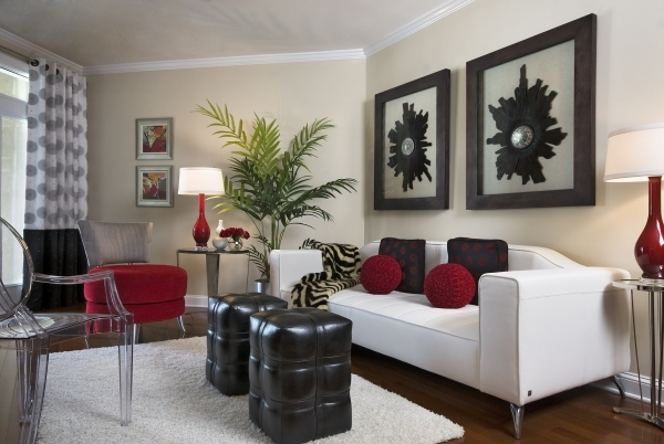 Picture of Living Room With Black Leather Ottoman Coffee Table White Fur Modern Rug Decorating Small Space Living Room