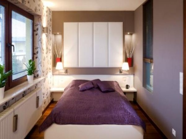 Stylish Beautiful White Purple Wood Glass Luxury Design Small Bedroom Small Bedroom With Full Bed