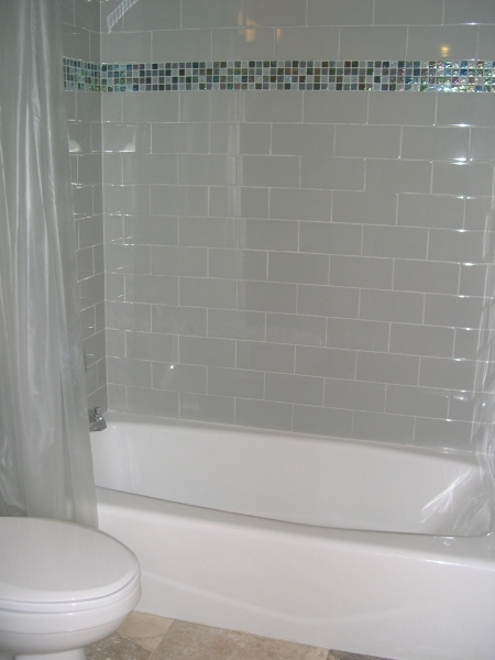 Awesome Interesting Bathroom With Gray Subway Tile Walls Accented With Subway Tile Small Bathroom