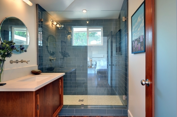 Fascinating Unique Soft Blue Glass Subway Tile For Walls Modern Bathroom Also Subway Tile Small Bathroom