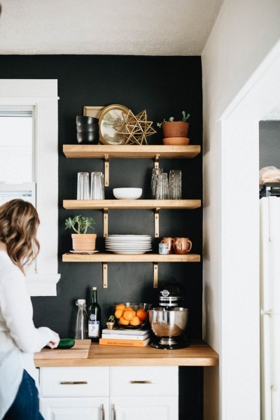 Gorgeous Our Diy Kitchen Remodel Shelves Open Shelves And Butcher Blocks Imans Small Master Room Decorating Ideas