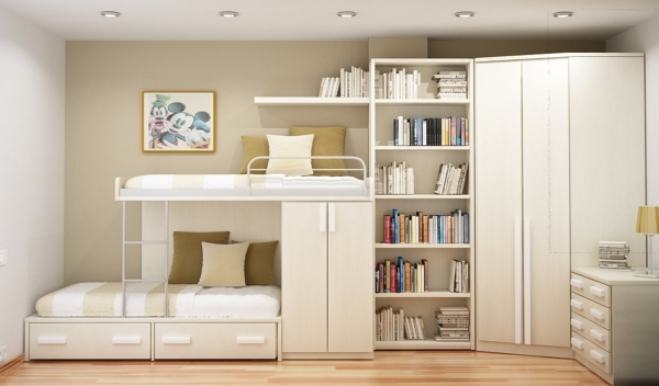 Image of Stunning Bedroom Furniture For Small Spaces Home Design With White Small Modern Teenage Boys Double Bunk Room