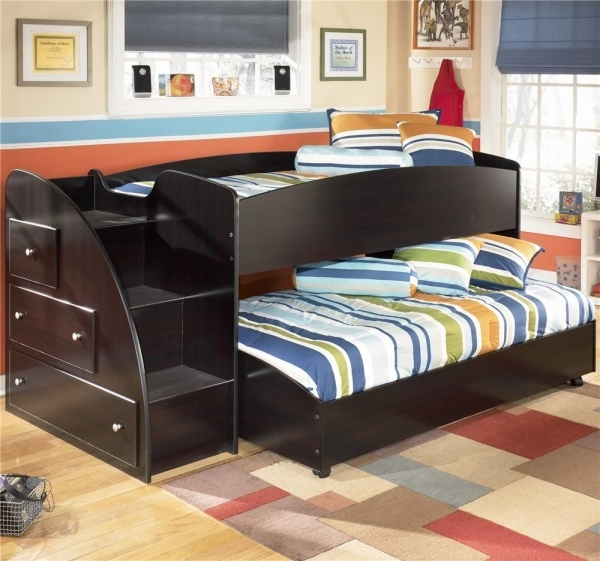 Picture of Lovely Bunk Bed Interior Design With Pink Wall Paint Color And Small Modern Teenage Boys Double Bunk Room