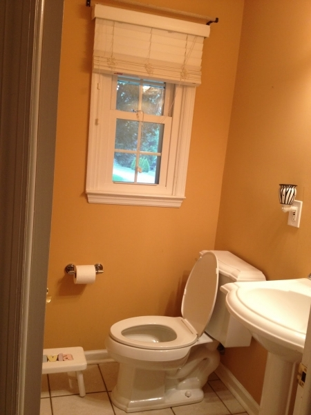 Picture of Small Bathroom Under The Stair With White Painted Wall And Glossy Paint For Small Bathroom