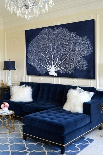Stylish Coral Fan Cyanotype Canvas Wall Art On Hautelook Channeling Imans Small Master Room Decorating Ideas