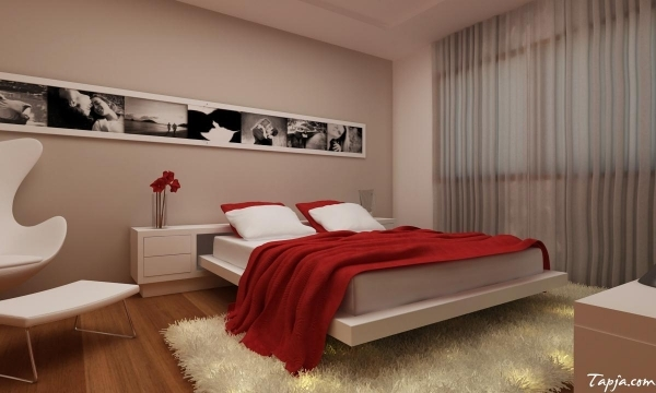 Stylish Small Decorating Rooms For Couples With Red Duvet Cover And White Bedding Set Small Couples Room Decoration