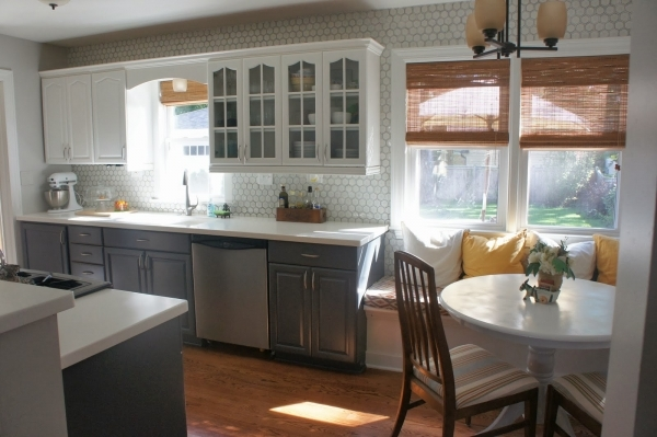 Amazing Remodelaholic Gray And White Kitchen Makeover With Hexagon Tile Small Gray And Off White Kitchens