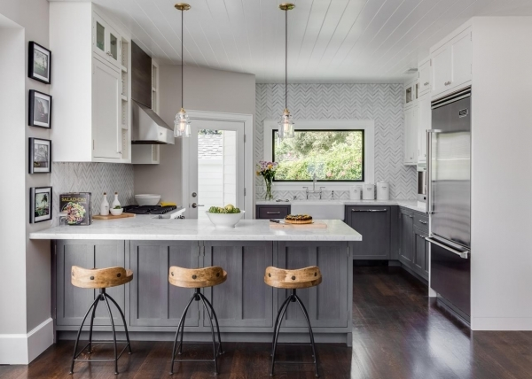 Beautiful Gray Small Kitchen Photos Hgtv Small Gray And Off White Kitchens