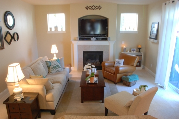 Image of Small Small Fireplace Design Living Room Space With Small Table Pottery Barn Small Spaces